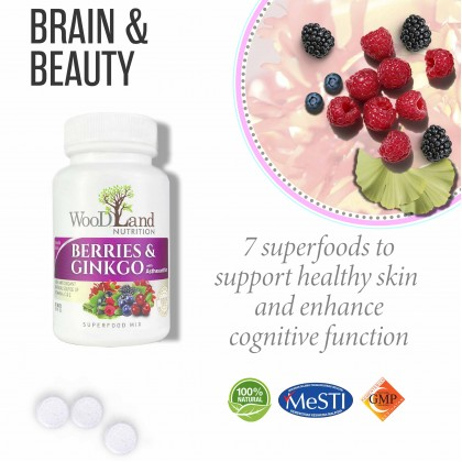Berries and Ginkgo 6000 Plus with Asthaxanthin Chewable Tablets  |  Brain & Beauty
